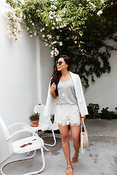 Kat Tanita - Loft White Blazer, Loft White Lace Shorts, Loft Grey Tee Shirt, Loft Necklace - White Lace Shorts for Summer