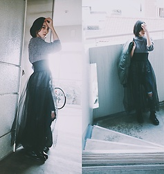 Yuko Tanaka - Secondhand Ma 1, Gu Top, H&M Tulle Skirt, Jeans, Boots - Tulle