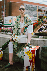 Andreea Birsan - White Straw Bag, Green Floral Kimono, White Cami Top, Smoke Lens Sunglasses, White Trousers, Tropical Print Leather Mules - Summer whites and florals