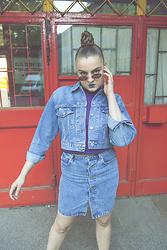 Agata Nika - Levi's® Cropped Denim Jakcet, Levi's® High Waisted Skirt, Levi's® Crop Top - Denim mafia