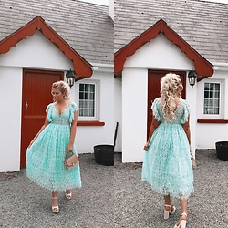 Fern Jenner - Asos Mint Green Lace Dress, H&M Wicker Bag, Primark Heels - Irish Wedding