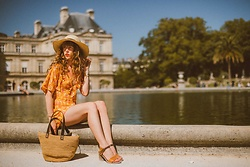Alexe Bec - Nine Lives Bazaar Jumpsuit, The Noces Basket Bag - Le Jardin du Luxembourg