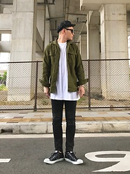 ★masaki★ - Newyork Hat Brondo, Colony2139 Military Shirts, H&M Long Fit Tee, Neuwdenim Iggy, Converse Low - OOTD : Simple Fits