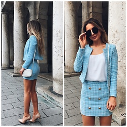 Anastasia Kotliar - Furla Bag, H&M Top, Topshop Sunglasses - BLUE X WHITE
