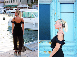Petra - H&M Black Maxi Skirt, Tally Weijl Black Ruffled Bodysuit, Mango Platform Sandals - Memories of Hvar