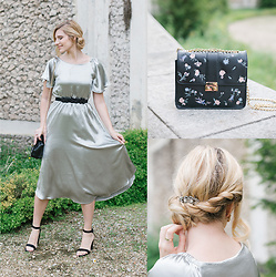 "Cristina Siccardi - Moi.To Silver Silk Dress, Asos Floreal Black Leather Bag, New Look Black Suede Sandals - The ""Sparkling"""