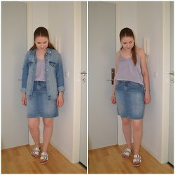 Mucha Lucha - H&M Top, H&M Denim Jacket, Second Hand Skirt, Vrs Sandals - Perfect denim match