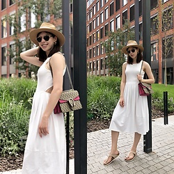 Taya Narozhna - Gucci Dionysus Small Gg Shoulder Bag, Asos White Dress, Christian Dior Sunglasses, H&M Straw Hat, Birkenstock Gizeh Sandals, Mango Earrings - My summer day