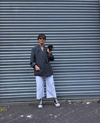Diane Landers - Thrifted Grey Blazer, H&M White Denim, Maxstar Platform Shoes, Retro Sunglasses - The Mommy Look