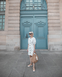 Eea Ikeda - Zara Dress, Zara Handmade Bag, Nike Sneakers, Saint Laurent Sunglasses - White Dress