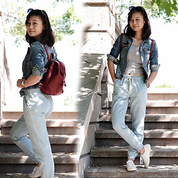 L Z - H&M Denim Jacket, Forever 21 Crop Top, Aerie Chambray Joggers, Guess Crochet Sneakers - Weekend Wanderer