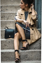 Isabel Alexander - Stradivarius Tan Trench Coat, X Nihilo Classic Black Crossbody Bag, Tony Bianco Black Denim Single Strap Heels - Sporty Trench Coat