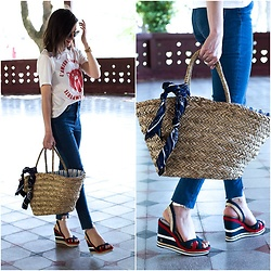 Marijana M - H&M White T Shirt, H&M Jeans, H&M Straw Bag, Tommy Hilfiger Platforms - Perfect summer sandals
