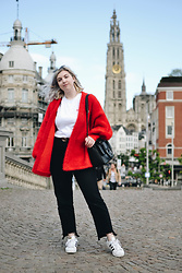 Elizabeth Claire - H&M Red Cardigan, H&M Gold Circle Belt, Boohoo Black Jeans, Adidas Superstars - Tickle Me Red