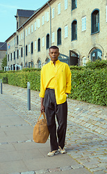 NIIMA BOA -  - Wide Leg Trousers & Yellow Shirt