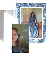 Jasmine - New Look Patterned Maxi Skirt, Zara Cropped Grey Slogan T Shirt, Awkward Pose - Light Patterns
