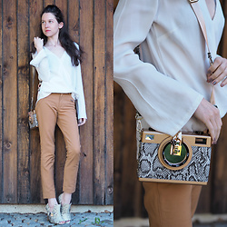 Claire H - Lyvem Blouse Lea, Zara Pants, Högl Peep Toes, Kate Gray Clutch - Take a picture