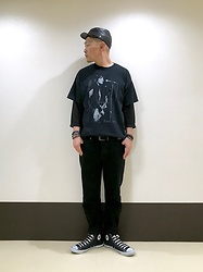 ★masaki★ - Newyorkhat Leather Civil War, Joan Jett Tee, Neuwdenim Studio Rilaxed, Converse Hi - Allblack everything