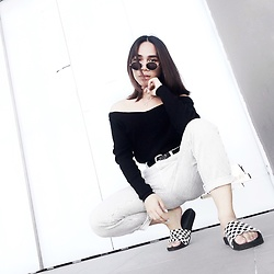 JUN UDAN - Forever 21 Shade, Forever 21 Necklace, Thrifted Black Off Shoulder, Thrifted Stripy Pants, Thrifted Black Belt, Vans Slide - BLACK AND WHITE BAE