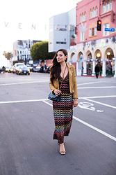 "Kat Tanita - M Missoni V Neck Maxi Dress, Iro Han Leather Jacket In Taupe, Chanel 10"" Quilted Shoulder Bag, Stuart Weitzman Nudistsong Ankle Strap Sandal - Missoni Date Night Vibes"