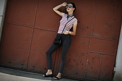 Ewa Macherowska - Only Jeans, New Yorker Slippers, Second Hand Bag, Second Hand Top, New Yorker Scarf, Born 86' Sunglasses, Nn Earrings, Michael Kors Watch - Summer Stripes