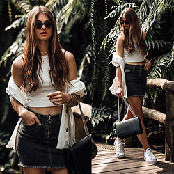 Jacky - Zara Top, Set Skirt, Converse Sneaker - Denim Skirt and Crop Top