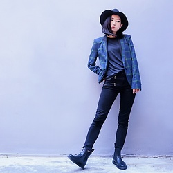Day Ji - River Island Jacket, Dr. Martens Boots, Weekday Hat - Black hat