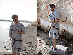 Ayoub Mani - Sweater And Short, Sunglasses Rayban, Accesories Zealotries, Shoes Vans - Minimal attitude