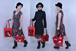 Suzi West - Toby Of London Vintage Hat, Grease Rags Clothing Company Sunglasses, @Suziwestmodel Barbie Hand Earrings, Shantel Niblock Bat Necklace, Only Trench Coat, Bcbg Wrap Dress, Estate Sale Vintage Bracelets, Momiji Peskimo Vinyl Bag, Beijo Red Purse, Mossimo Coybow Bots - 08 February 2018