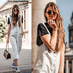 Jacky - Ray Ban Sunglasses, Edited Overall, Converse Sneakers -  White Linen Overall combined with Platform Sneakers