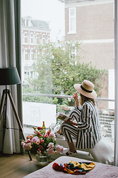 Andreea Birsan - Striped Linen Blazer, Striped Linen Trousers, Gucci Ace Heart Embroidered Sneakers, Straw Boater Hat - The Hague