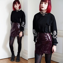 Lea B. - Bershka Skirt, Dr. Martens Shoes - Burgundy