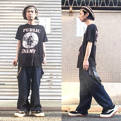 @KiD - Hemp Beret, Public Enemy Tee, Vintage Buggy Pants, Northwave Espresso - JapaneseTrash406