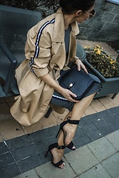 Isabel Alexander - Stradivarius Tan Trench Coat, Tony Bianco Black Denim Single Strap Shoes - Summer Sporty Trench Coat
