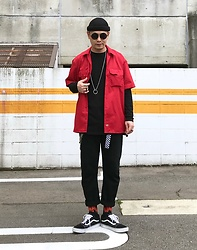 ★masaki★ - Dickies Work Shirts, Neuwdenim Studio Rilaxed, Active Ride Shop Socks, Vans Oldskool - Black&Red