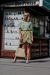 Laura⎢Les factory Femmes - Cos Top, Mango Pumps, Samsoe&Samsoe Skirt, Asos Sunnies - Pattern Mix
