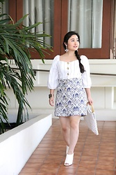 Kristen Tanabe - Forever 21 Button Front Blouse, Topshop Jacquard Skirt, Topshop Macrame Purse, Forever 21 White Mules, Banana Republic Chandelier Earrings - Casual Opulence