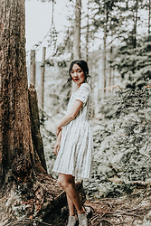 Gabby Chia - Gentle Fawn Blue And White Striped Dress, Qupid Boots - Between the Trees
