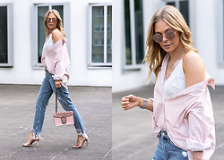 Sunnyinga - H&M Shirt, Loavies Lace Top, H&M Girlfriend Jeans, Aldo High Heels, Vintage Store Bag, Asos Sunglasses - Shirt x Girlfriend Jeans x High Heels