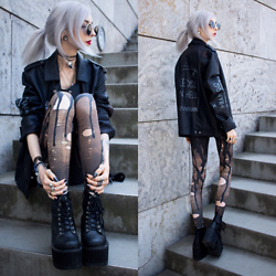 Kimi Peri - Thfkdlf See You In Hell Biker Faux Leather Jacket, Devil Walking Wax Leggings, Vii & Co. Platform Boots, Vii & Co. Vintage Glasses, Choker, Rogue + Wolf Black Matte Ring - See You In Hell