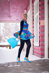 Louisa Moje - Patchwork Peplum Top, Boohoo Black Long Sleeve Bodysuit, Black High Waisted Jeans (Similar), Blue Dome Satchel (Similar), Blue Stiletto Heels (Similar) - Stylish African Print Patchwork Peplum Outfit