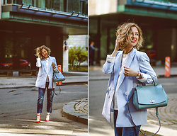 Margarita Maslova - Mango Blue Jacket, Portal Red Shoes - Blue & Wine