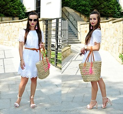 Natalia Uliasz - Rosegal Sunglasses, Rosegal Earrings, Reserved Lace Dress, Bonprix Beach Bag, Reserved Sandals - Lace dress
