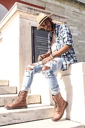 Kris Hilton - Palladium Boots, H&M Ripped Jean, Billionaire Boys Club Flannel - Tear Them Apart