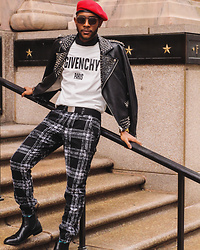 Kris Hilton - Givenchy Sweater, Custom Styledbykhilton Spiked Biker Jacket, Thrift Checkered Pants, Urban Outfitters Beret, Steve Madden Chelsea Boots - Bring Paris To Cleveland