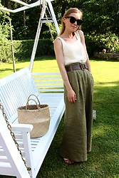 Anna Borisovna - Massimo Dutti Top, Asos Belt, Zara Pants, Mango Shoes, Vintage Bag - Beige & Khaki Look