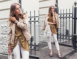 Aiste Mondayjazz - Vintage Jacket, Zara Tunic, Daniel Wellington Watch, Clean Ocean Project Bag, Reserved Jeans, Sandals - OOTD: safari vibes & neutral tones