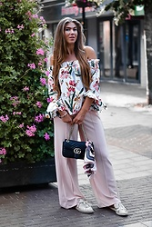 Fashion Statements By Q - Off Shoulder Floral Top, Gucci Marmont, Bershka Pink Pants, Zara Loafers - Floral Love