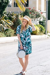 Meagan Brandon - Similar Hat, Palm Print Dress, Brahmin Lane Handbag, Gucci Sandals - Tropical Vibes