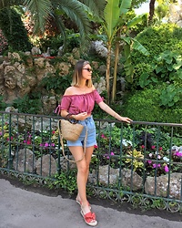 Marion Style - Rebellious Fashion Bardot Top, Forever 21 Short, Forever 21 Shoes, Zara Bag - Palms